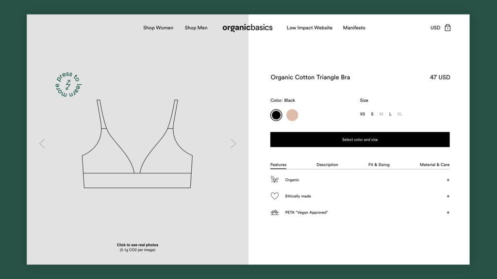 Organic Basics Low Impact Website product page