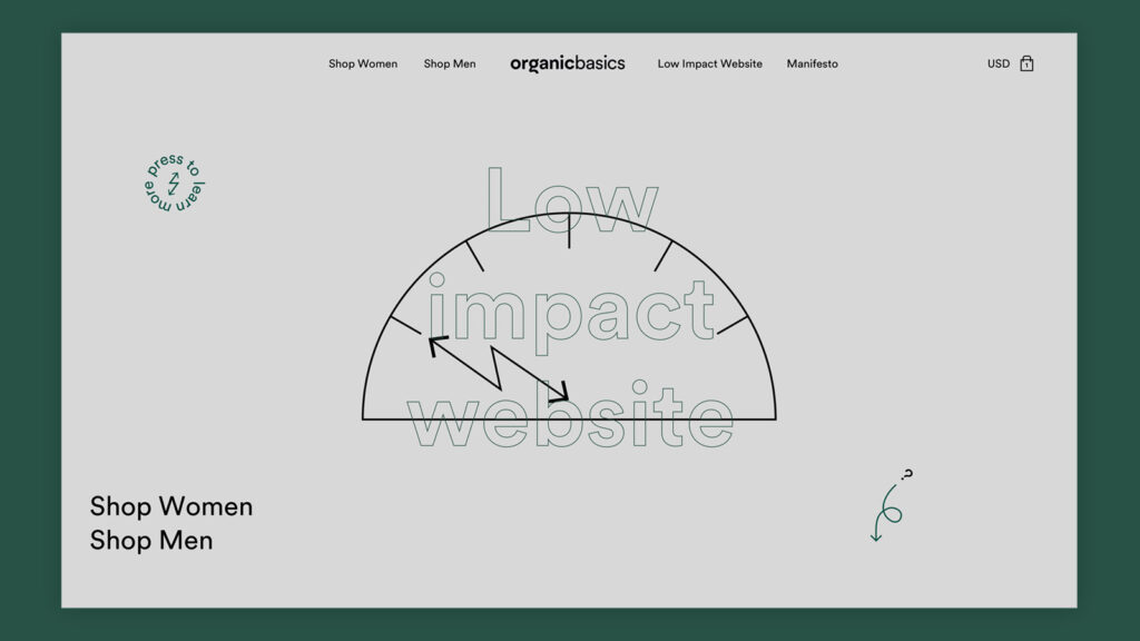 Organic Basics Low Impact Website front page