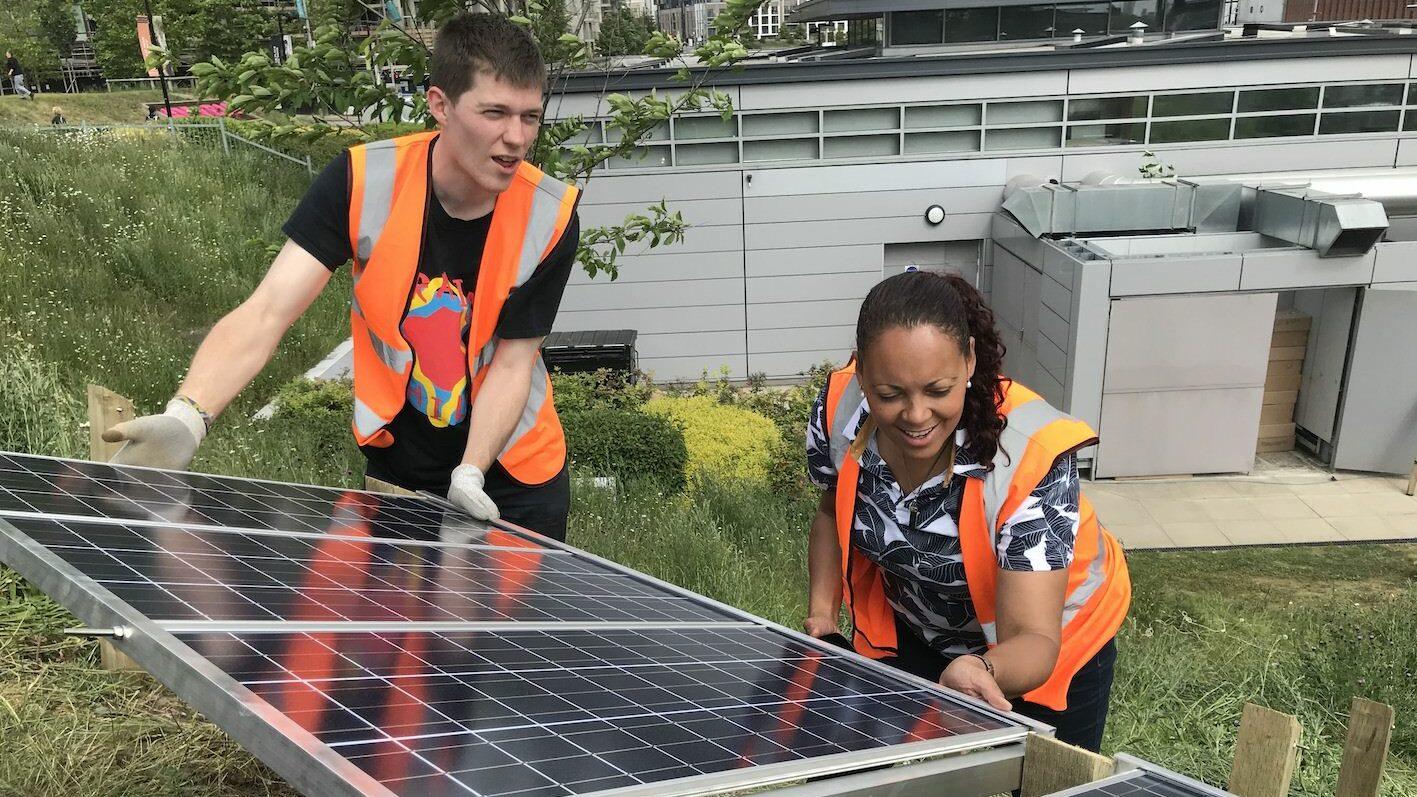 Wholegrain Digital staff installing solar panels to generate their own renewable energy