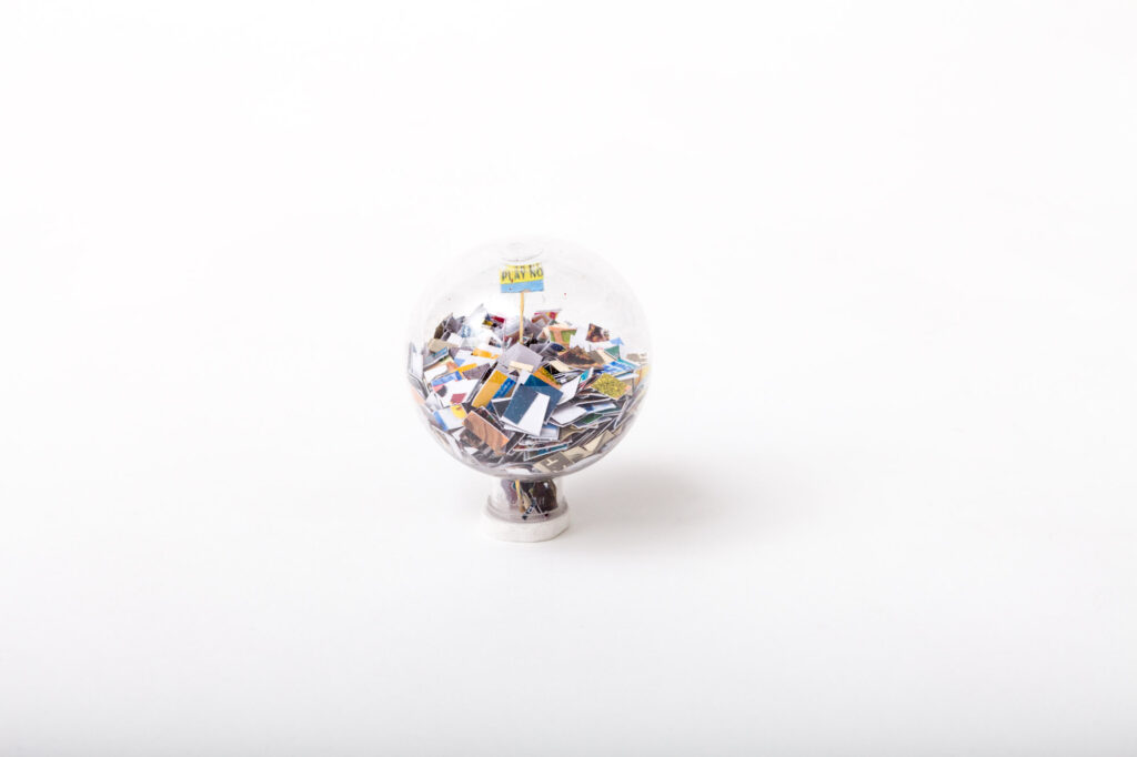 A globe filled with tiny ads