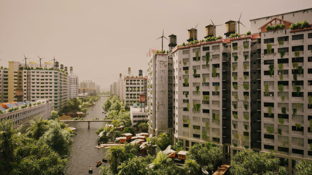 A cityscape with flooded streets, lush green from the windows and gleaming wind turbines on every roof
