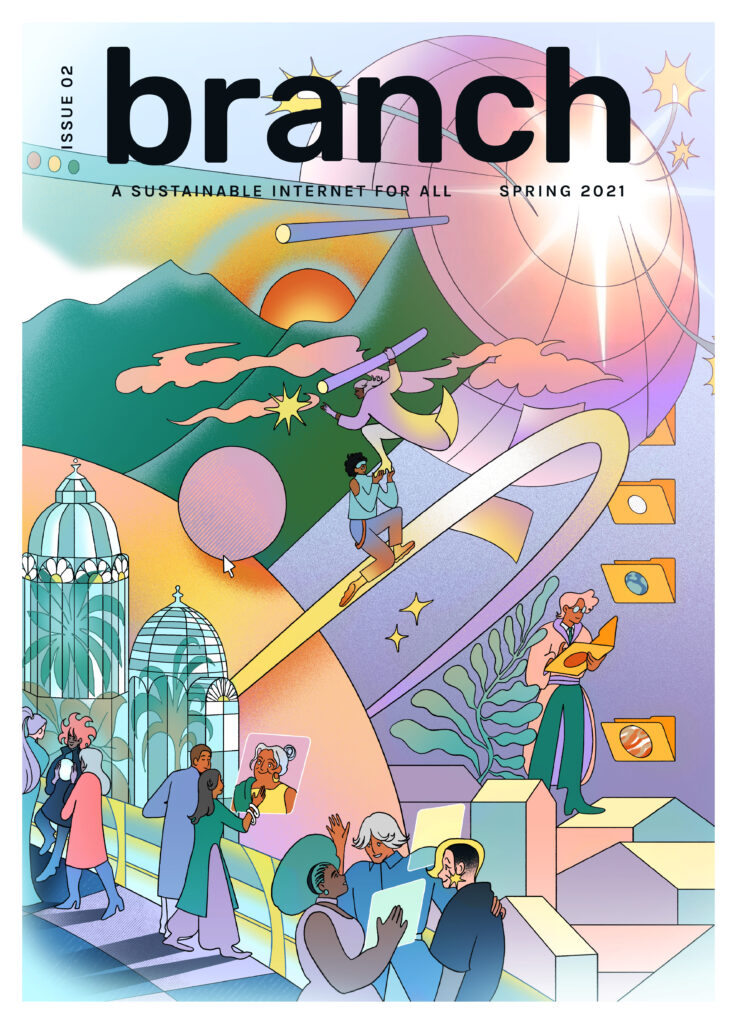 Branch Issue 2 cover by Gica Tam. People commoning for a sustainable internet
