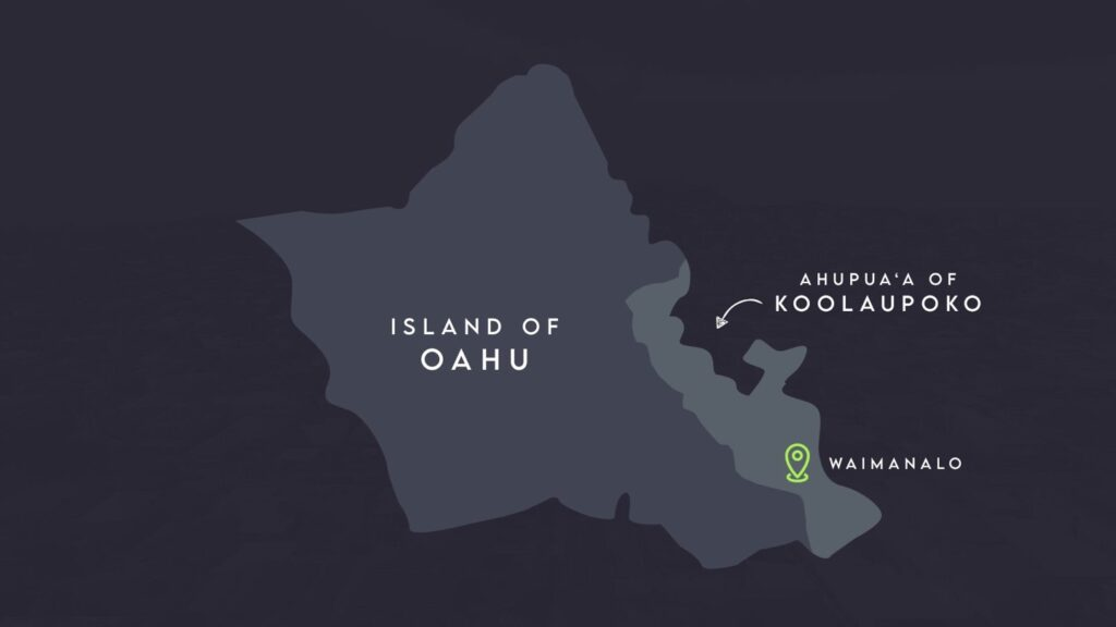 Map of Oahu featuring an Ahupua'a system and cultural village