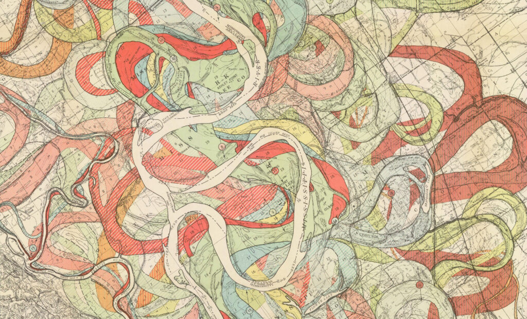 Colorful meandering routes of the Mississippi River